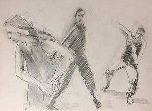 drawing of someone dancing the 5Rhythms Open Floor having a freedom liberating dance